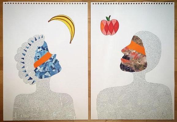 """""""Eva y Adán"""" (díptico) - Serie El Bien y el Mal - 59 x 42 cm c/u - Collage - 2016"""