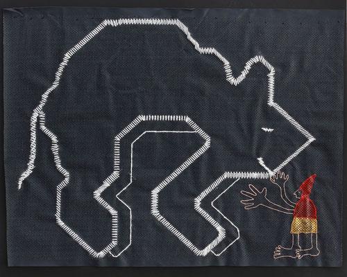 """""""Enfrentando sus miedos"""" - Serie Los Miedos - 45 x 50 cm - Técnica mixta - 2014"""