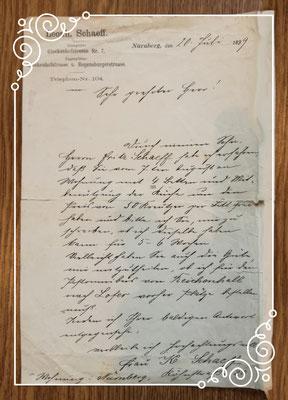 Gästeanfrage aus dem Jahre 1899