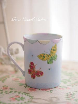 ポーセラーツ限定カタログ:蝶のマグカップ