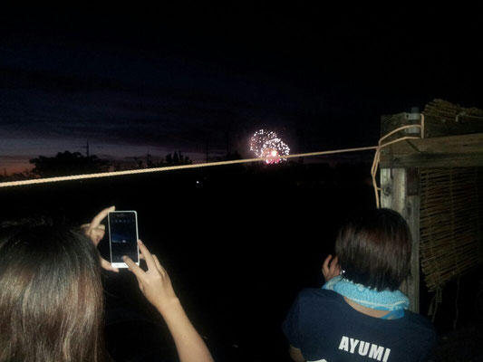 海洋博の花火大会です。屋上から見えますよ。