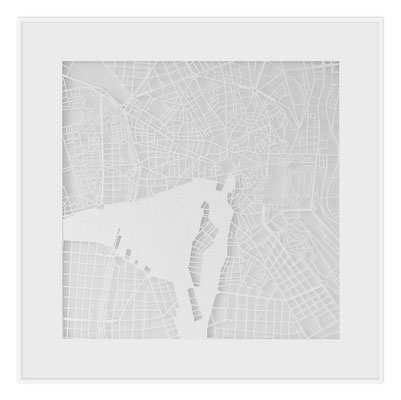 "Madrid, ""The Angel of Madrid"", 2013. 500x500 mm, hand-cut paper."