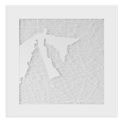 "Bucharest, ""The Angel of Bucharest"", 2013. 500x500 mm, hand-cut paper."