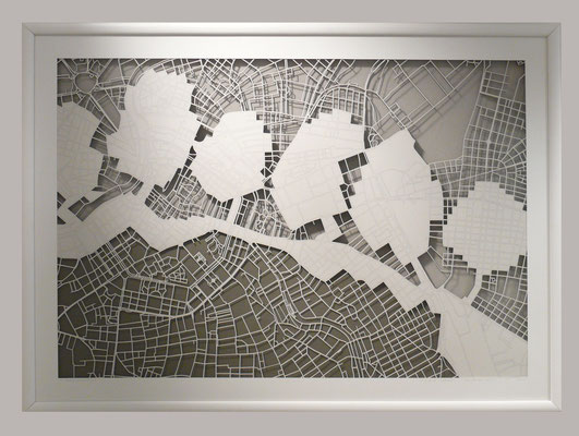 "Vienna, ""Downhills"", 2014. 900x600 mm, hand-cut paper."