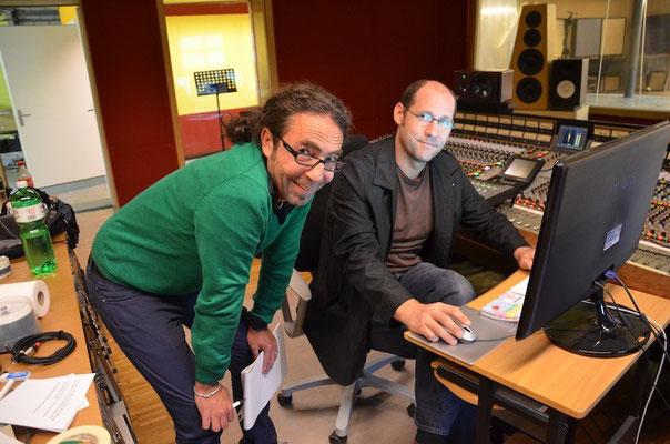Drummer Andy Aegerter und Tonmeister Neri
