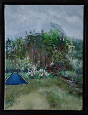 """""""Zuid-Holland Niederlande Ferienhaus/Garten Sketch"""" (30×40cm) 2011"""