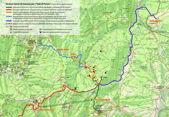 Mappa della zona di Topli Uorch con indicati gli itinerari significativi.