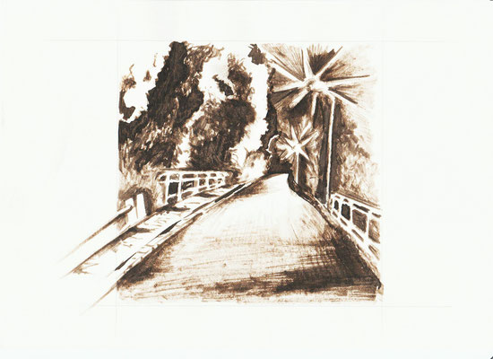 Aquarell. Zugbrücke