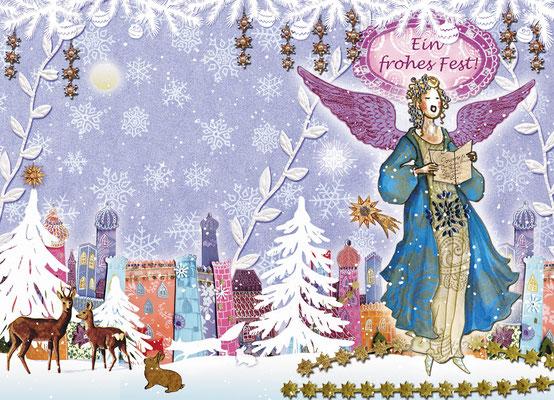 Weihnachtskarte Little Lady Engel Mischtechnik Caroline Ronnefeldt für Edition Tausendschön