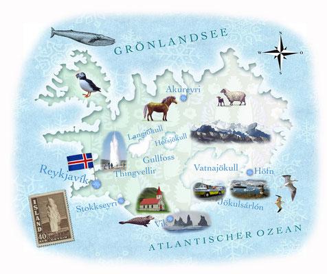 illustrierte Landkarte von Island für Freundin DONNA  © Caroline Ronnefeldt