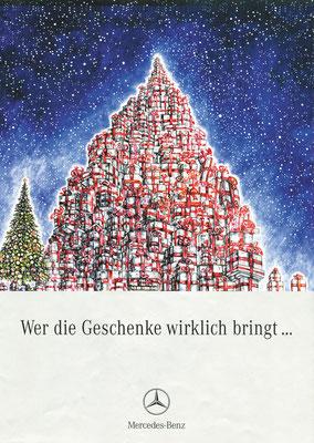 """Cover-Illustration für MERCEDES BENZ, Broschüre """"Wer die Geschenke wirklich bringt...""""  © Caroline Ronnefeldt"""