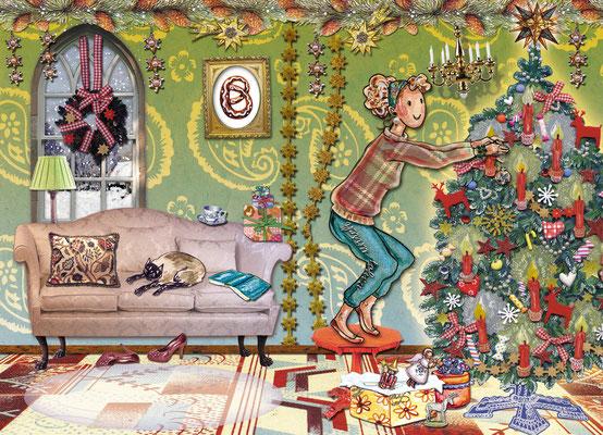 Weihnachtskarte  Little Lady Christbaum Schmücken Mischtechnik Caroline Ronnefeldt für Edition Tausendschön
