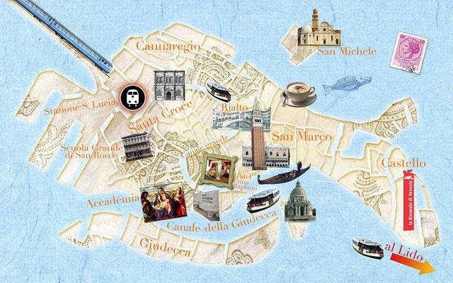 illustrierter Stadtplan von Venedig für Freundin DONNA © Caroline Ronnefeldt