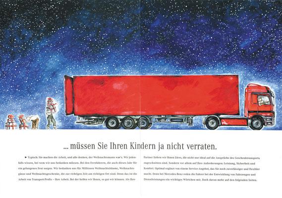 """Innen-Illustration für MERCEDES BENZ, Broschüre """"Wer die Geschenke wirklich bringt...""""  © Caroline Ronnefeldt"""