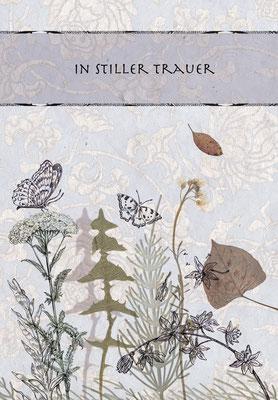 """Trauerkarte """"Zarte Wiese"""" Federzeichnung mit collagierten Blüten Caroline Ronnefeldt für Edition Tausendschön"""