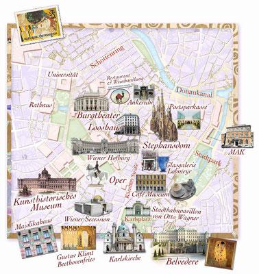 illustrierter Stadtplan von Wien für Freundin DONNA © Caroline Ronnefeldt