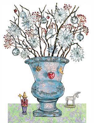 weihnachtliche Vase mit Silbersternen © Caroline Ronnefeldt