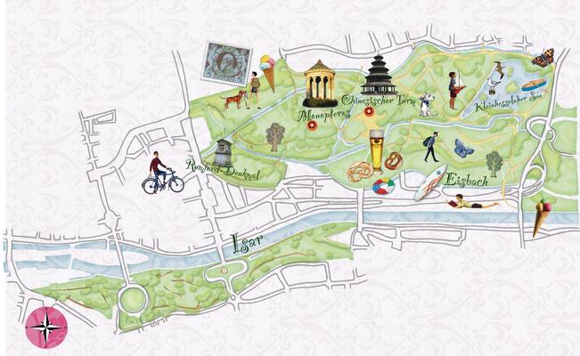 illustrierter Plan vom Englischen Garten, München für FREUNDIN © Caroline Ronnefeldt