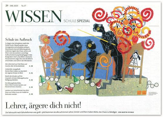 Aufmacherillustration für DIE ZEIT Wissen Schule Spezial, Papiercollage  © Caroline Ronnefeldt