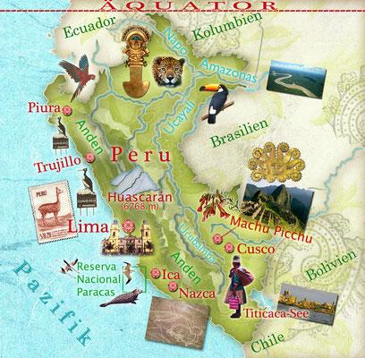 illustrierte Landkarte von Peru für Freundin DONNA © Caroline Ronnefeldt