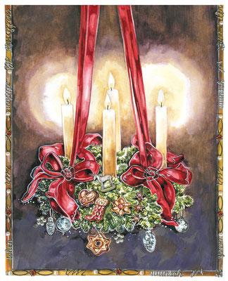 großer Adventskranz mit roten Schleifen Aquarell © Caroline Ronnefeldt
