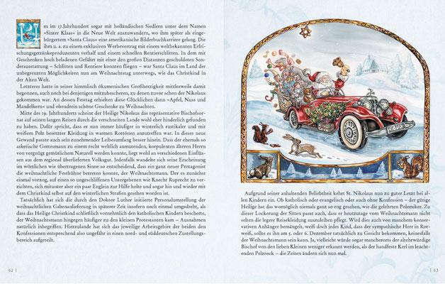 Weihnachtsmann in Limousine Aquarell © Caroline Ronnefeldt