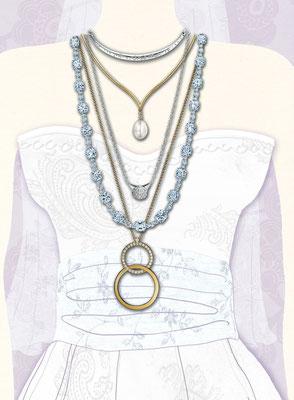 Illustration für GALA Wedding Hochzeitsschmuck Halsketten Collage und Photoshop  © Caroline Ronnefeldt
