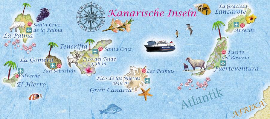 illustrierte Landkarte der Kanarischen Inseln für Freundin DONNA © Caroline Ronnefeldt