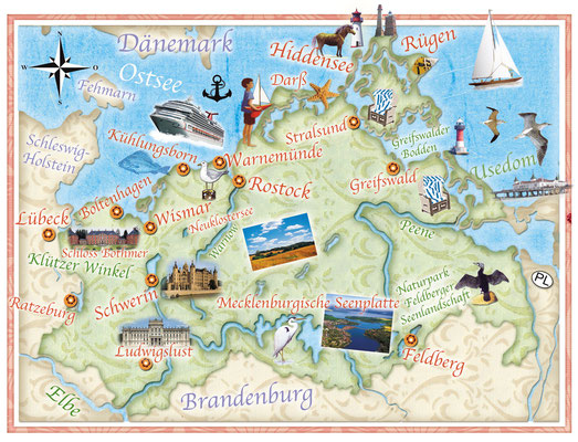 illustrierte Landkarte von Mecklenburg-Vorpommern für Freundin DONNA © Caroline Ronnefeldt