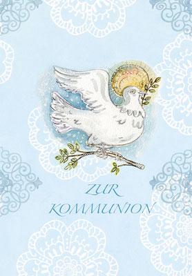 """Grusskarte zur Kommunion """"Taube"""" Mischtechnik Caroline Ronnefeldt für Edition Tausendschön"""