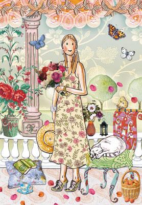 Little Lady Sommerterrasse Mischtechnik Caroline Ronnefeldt für Edition Tausendschön