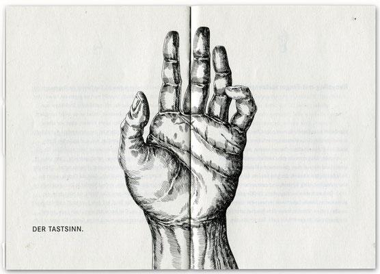 """Der Tastsinn Federzeichnung für Daimler Chrysler """"Die sechs Sinne"""" Broschüre Umweltschutz  © Caroline Ronnefeldt"""
