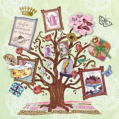 Geburtstagskarte Collage und Photoshop Caroline Ronnefeldt für Edition Gollong