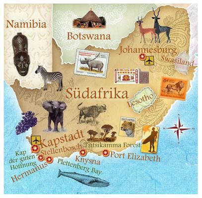illustrierte Landkarte von Südafrika für Freundin DONNA © Caroline Ronnefeldt