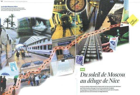 Collage zu einer Reise von Moskau nach Nizza für COURRIER international und DIE ZEIT  © Caroline Ronnefeldt