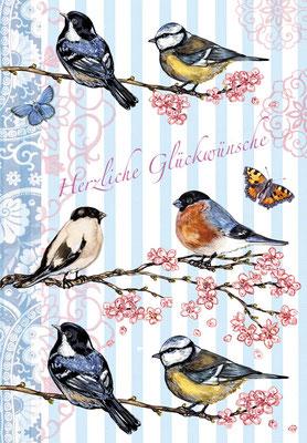 Geburtstagskarte Frühlingsvögelchen