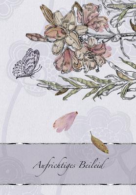 """Trauerkarte """"Lilie"""" Federzeichnung und Mischtechnik Caroline Ronnefeldt für Edition Tausendschön"""