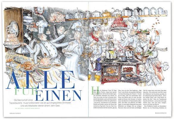 """""""Alle für Einen""""  Hierarchie in der Profiküche Relais & Chateaux Magazin Federzeichnung und Aquarell  © Caroline Ronnefeldt"""