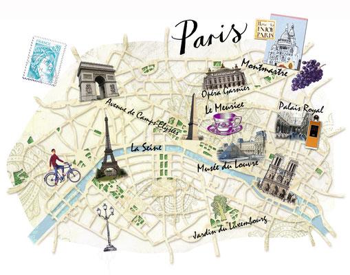 illustrierter Stadtplan von Paris für Freundin DONNA © Caroline Ronnefeldt