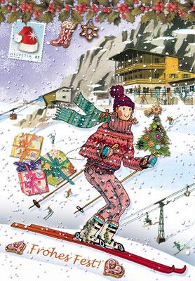 Weihnachtskarte Little Lady Ski Mischtechnik Caroline Ronnefeldt für Edition Tausendschön