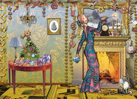 Weihnachtskarte Little Lady am Kamin Mischtechnik Caroline Ronnefeldt für Edition Tausendschön