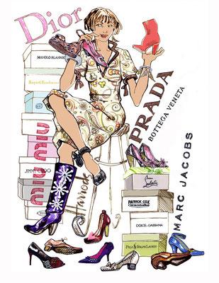 Modezeichnung für Living at Home Thema Schuhe  © Caroline Ronnefeldt