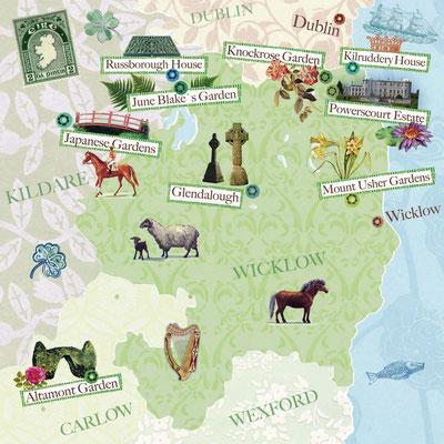 illustrierte Landkarte County Wicklow, Irland für Freundin DONNA © Caroline Ronnefeldt