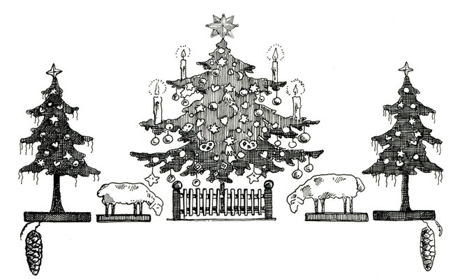 Tuschezeichnung drei Weihnachtsbäume Jugendstil Holzschäfchen © Caroline Ronnefeldt