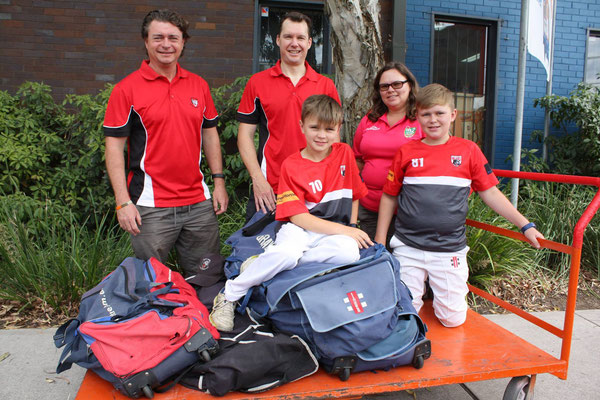 Big thanks to North Sydney District Junior Cricket Club for their large donation of quality used cricket gear today. Pictured from left to right, Karl Riseborough (president), Tony Davison (gear steward), Jenny Riseborough (treasurer, Milo In2Cricket coor