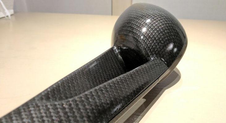 Spiegelkap van motor Nostalgisch carbon in zwart