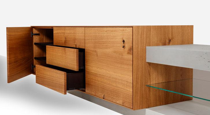 Sideboard Betonmöbel aus Solothurn, echt Beton Möbel,  Beton und Holz, echter Beton und Massivholz, Sideboard in Beton