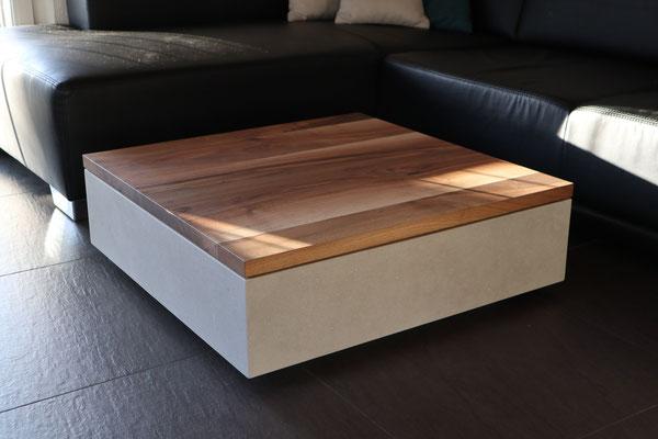 Salontisch, aus echtem Beton und massivem Eichenholz, Betonmöbel, Couchtisch aus Beton, Beton Möbel, Betonmöbel Online bestellen,