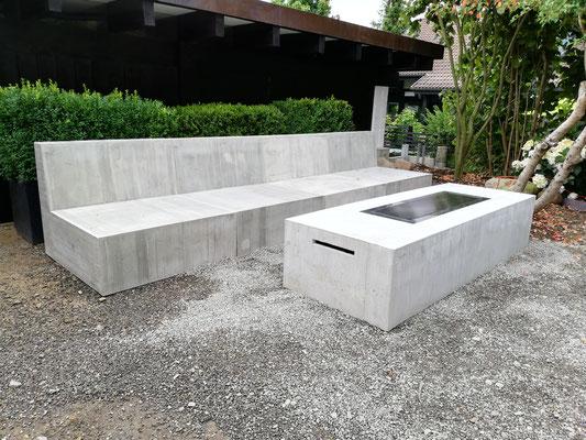 Outdoormöbel aus Beton, Happy Cocooning, Firetable, Feuerstelle in Tisch, Beton Firetable, Gartengestaltung, design11, Gartenmöbel aus Solothurn
