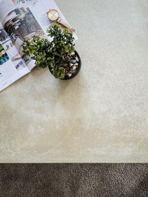 Betontisch in echtem Beton, Salontisch, Bonsai auf Salontisch, Bettlach Möbel, Designermöbel aus Beton, design11, Bur Schreinerhandwerk GmbH